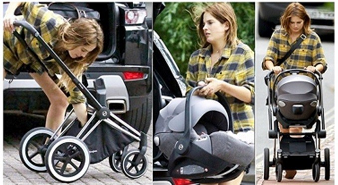 binky felstead with daughter in pram