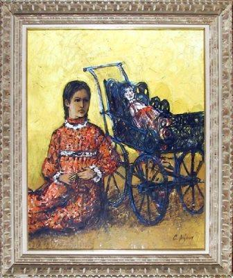 Child with Doll and Stroller: Painting by Carlos Irizarry
