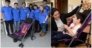 Lightweight stroller by Johns Hopkins engineering students for boy with special needs
