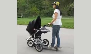 Cool Mom Attaches Skateboard to Stroller: DIY Baby Momma Board
