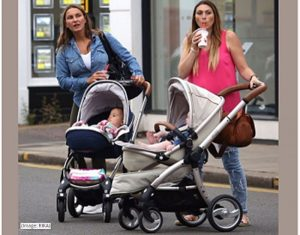 Sam Faiers and Luisa Zissman with strollers in London