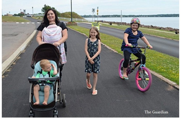 stroller mom on cycling lane