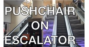 how to take stroller on escalator