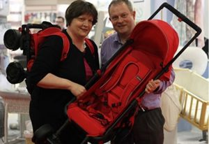 Wearable stroller invented by Welsh couple is now on sale