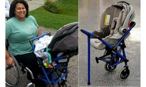 Mom in wheelchair can take baby for walks with specially designed stroller